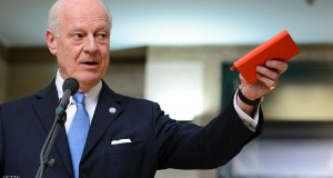 UN envoy for Syria Staffan de Mistura gestures as he speaks after a session of Syrian peace talks with the Syrian government delegation at the United Nations (UN) Offices in Geneva on January 29, 2016. A UN-led push to chart a way out of Syria's tangled civil war got off to a shaky start, with only representatives of Bashar al-Assad's regime attending the first day of supposed peace talks in Switzerland. The talks, backed by all the external powers embroiled in the war, are the biggest push yet to end a conflict that has killed more than 260,000 people and facilitated the meteoric rise of the extremist Islamic State (IS) group.  / AFP / FABRICE COFFRINI        (Photo credit should read FABRICE COFFRINI/AFP/Getty Images)
