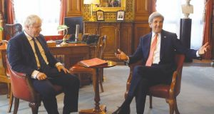 Britain's Foreign Secretary Boris Johnson, left, meets with U.S. Secretary of State John Kerry at the Foreign Office in London, Tuesday, July 19, 2016. (AP Photo/Kirsty Wigglesworth, pool)