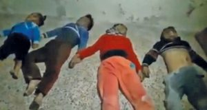 A still image taken from a video released on November 20, 2016, shows the bodies of four children lying on the floor said to have been killed in a chlorine gas attack and said to be in eastern Sakhour neighbourhood in Aleppo, Syria.      Syrian Civil Defence/Handout via REUTERS TV        ATTENTION EDITORS - THIS IMAGE WAS PROVIDED BY A THIRD PARTY. EDITORIAL USE ONLY. NO RESALES. NO ARCHIVE. REUTERS IS UNABLE TO INDEPENDENTLY VERIFY THIS IMAGE